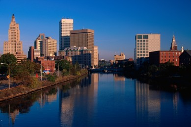 October 1998, Providence, Rhode Island, USA --- Providence Skyline and Seekonk River --- Image by © Joseph Sohm/Visions of America/Corbis