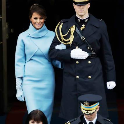 President-elect Donald Trump's wife Melania Trump arrives before the 58th Presidential Inauguration for President-elect Donald Trump at the U.S. Capitol in Washington, Friday, Jan. 20, 2017. (AP Photo/Patrick Semansky)